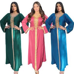 Kaftan Abaya Women Moroccan Muslim Long Maxi Dress Dubai Jilbab Caftan Gown Arab