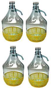 4 STÜCK 5L Gärballon mit BÜGELVERSCHLUSS und Korb Flasche Glasballon Weinballon