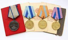 Original Soviet Medals SILVER Bravery Valor Capture Vienna Budapest Prague + DOC