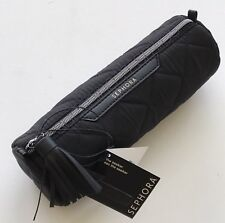 Sephora THE SEEKER Quilted Barrel-Shaped Makeup Pencil Brush Pouch Case ~ BLACK