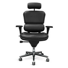 NEW Raynor Ergohuman Chair - Black Leather, High Back w/ Headrest LE9ERG