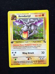 1st Edition Prerelease Aerodactyl - Holo Rare Pokémon Card 1999 Fossil 1/62