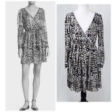 Kate Spade Black & Gold Multi Dot jacquard Metallic Wrap Dress Long Sleeve Sz 4