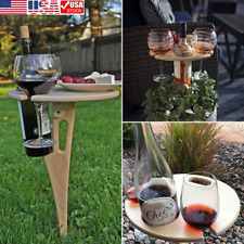 Outdoor Mini Folding Table Portable Beach Wooden Picnic Table Wine Glass Rack US