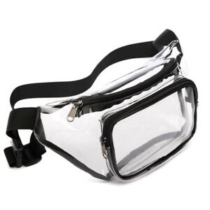 Clear Fanny Pack Travel Stadium Security Approved Bag Black Warehouse Job School