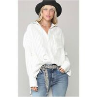 White Linen Cotton Polyester Blend Oversized Blouse Tunic Top Button Down size L