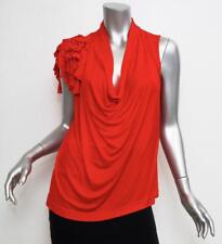 BOUDICCA Womens Red Sleeveless Draped Blouse Shirt Top 12