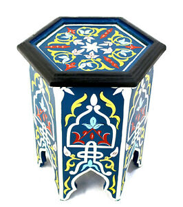 Moroccan Side Table Accent End Corner Piece Blue Authentic Painted Decor Size 1