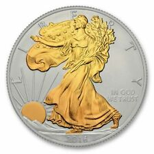 AMERICAN EAGLE LIBERTY GILDED 1 OZ FINE SILVER COIN WITH 24 KT GOLD USA 2016