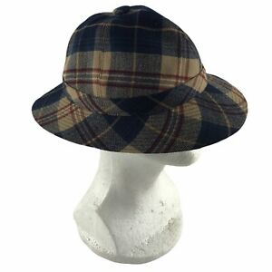 The Scotch House Walking Hat British Wool Blue Plaid Bucket Cloche Size Medium