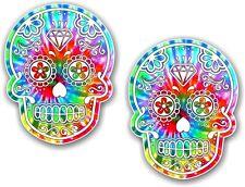2pcs 70x55mm Mexican Day Of The Dead Sugar Skull Hippy Tie Dye Motif Car Sticker