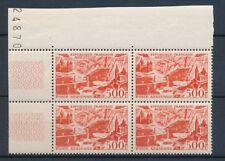 1949 TIMBRE POSTE AERIENNE Bloc de 4 N°27 500f rouge Marseille N** P4550