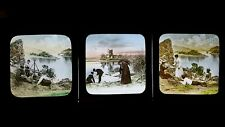 1890'S ANTIQUE VICTORIAN MAGIC LANTERN SLIDES - MORALISTIC/ GENRE - RICH / POOR