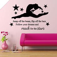 GYMNASTIC, girls gymnast Bedroom Quote, Vinyl Wall Art Sticker Decal, Mural
