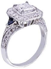 GIA G-VS2 18k White Gold Asscher Cut Diamond Engagement Deco Halo Ring 1.45ctw