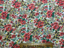 Vintage Cotton Fabric 30s40s SWEET Lil Pink Yellow & Red Floral 35w 1yd