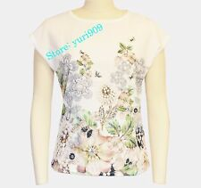 d7a91325c Ted Baker London Ivory Taysae Gem Gardens Crew Neck Tee Top Size 2 (us 6
