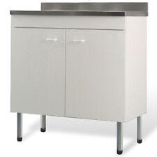 Sottolavello bianco 90cm mobile completo di lavello in acciaio inox doppia vasca