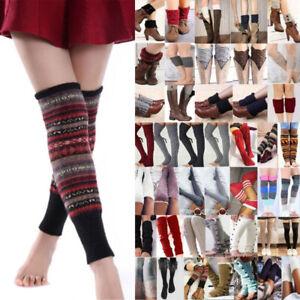 Women Winter Crochet Knitted Knee High Leg Warmer Cuffs Toppers Leggings Socks
