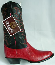 New NOCONA 8 C Red LIZARD Black Leather Made In USA Cowboy Boot OLD STOCK