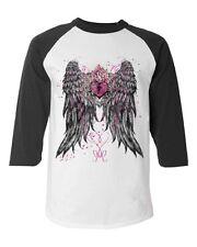 Heart Lock Angel Wings Baseball Raglan T-shirt key hole rose love shirts