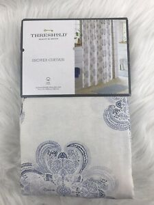 Threshold Blue Medallion Fabric Shower Curtain, Cotton Bath Decor NEW