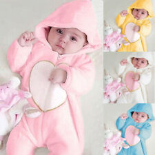 Newborn Baby Boy Girl Kids Heart Hooded Romper Jumpsuit Bodysuit Clothes Outfits