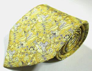 Salvatore Ferragamo Tiger Animal Floral Pattern Yellow Color Silk Necktie Tie