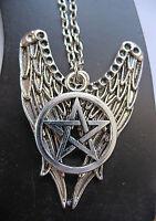 Halskette Pentagramm Necklace Pentakel fünfstern Wings Magie Esoterik