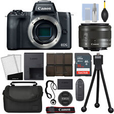 Canon EOS M50 Mirrorless Digital Camera with 15-45mm STM Lens Black + 16GB Kit