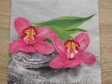 4 lose Servietten Orchideen  auf Stein