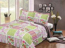 BEDSPREAD QUILT COMFORTER DOUBLE BED THROW QUILTED 240cm X 260cm + 2 PILLOWCASES