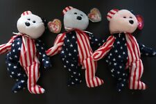 TY Beanie Babies - Lot of 3 SPANGLE - Red (Pink), White & Blue - Retired