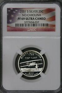 US 2001S Silver North Carolina State Quarter NGC PF69 Ultra Cameo  S490