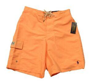 "Polo Ralph Lauren Men's Orange Solid Print 8.5"" Swim Trunks"