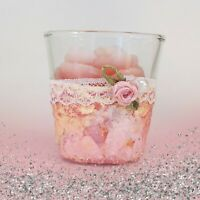 Decoupage rose votive candle in glass holder, new, free ship 5.