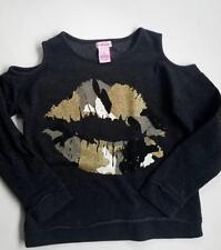 *DESIGN HISTORY* $72 Cold Shoulder girls Glitter Lips Sparkle sweatshirt Black S