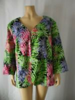 FRENZ Theresa Renz Jacket 1X multi color floral print 3/4 sleeve light weight