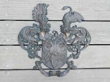 Large Antique German Bronze Plaque Frei Und Treu Architectural or Military Wwi