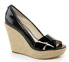 Michael Kors Cassandra Espadrille Wedge in Black Patent Leather