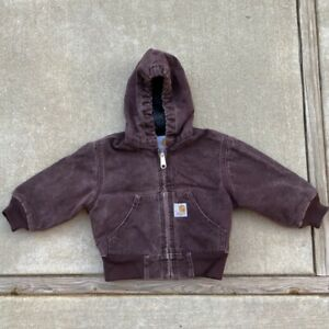 KIDS Carhartt Burgundy Purple Canvas Zip Up Jacket Boys Size 2T