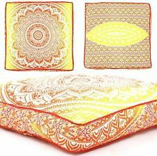 """Ottoman Dog Bed Cushion Floor Square 35"""" Mandala Indian Pillow Case Cover Pouf"""