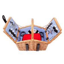 Schramm® Picknickkorb aus Weidenholz für 2 Personen mit Besteck Gläser Geschirr