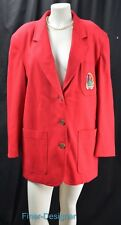 Vintage The Limited red wool boyfriend blazer light jacket coat crested SZ L New