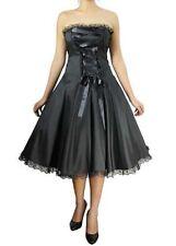 Black w/ Lace Trim Corset Front Rockabilly Gothic Vintage Dress 22 Plus 3X 22W *