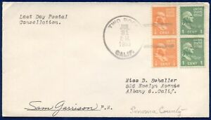 CALIFORNIA DPO: 7/31/1953 Cover TWO ROCKS Cancel, Last Day of Service; PM Signed
