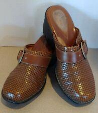 Clarks Artisan Collection Beige Leather Mule Slip-on Heel Shoe Women Size 7.5 M