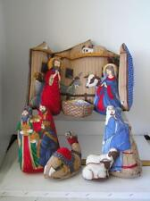 Childs Soft Cloth Nativity Play Set Manger Scene Stuffed Toys Cradle Crib Hymn