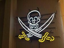 "Pirate Skull Neon Sign Display Store Beer Bar Pub Neon Light17""X14""Z93 76"