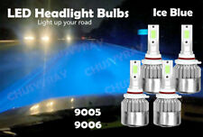 4 Bulbs Kit 9005 9006  LED 8000LM Combo Headlight High Low Beam 8000K Ice Blue